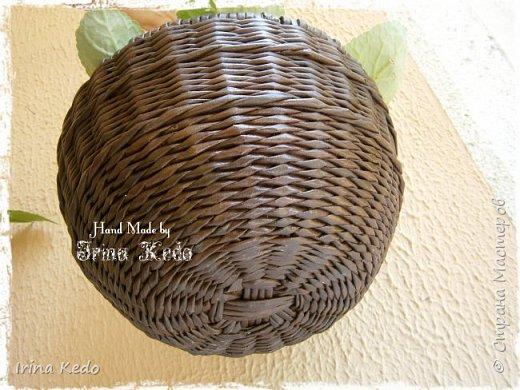 Мастер-класс Плетение Плетёное подвесное кашпо усовершенственное  Трубочки бумажные фото 15
