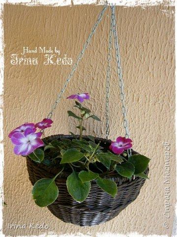Мастер-класс Плетение Плетёное подвесное кашпо усовершенственное  Трубочки бумажные фото 17