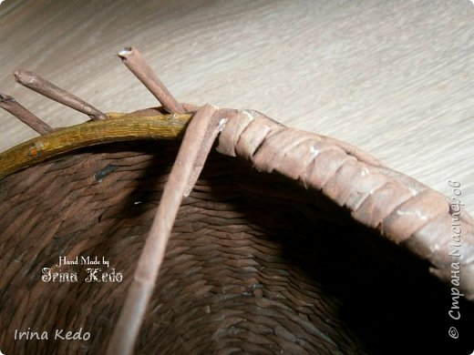 Мастер-класс Плетение Плетёное подвесное кашпо усовершенственное  Трубочки бумажные фото 9