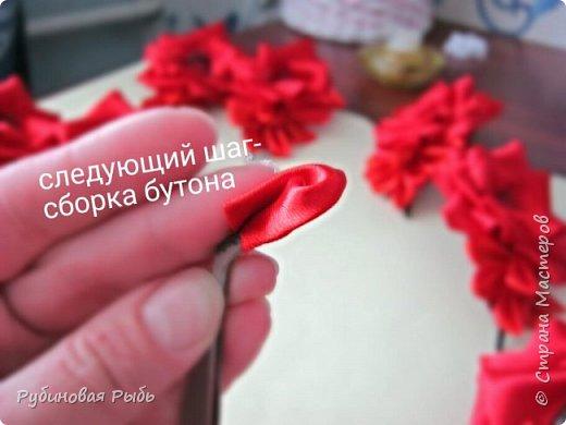 Канзаши роза из креп сатина мк фото 14
