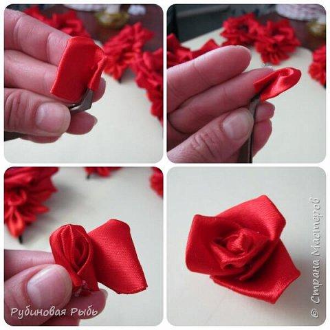 Канзаши роза из креп сатина мк фото 15