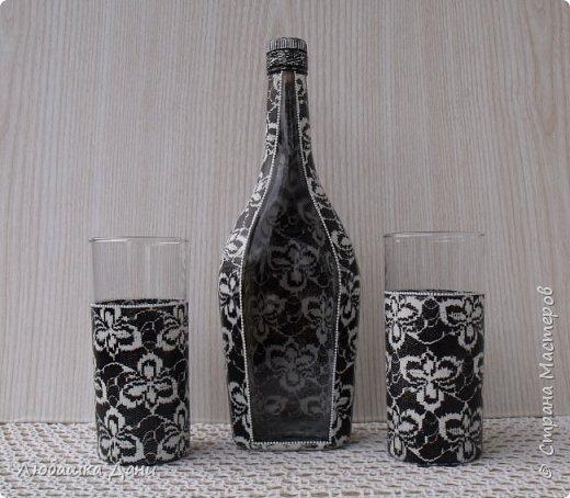 Декор предметов Мастер-класс Роспись Декор посуды с помощью гипюра Бутылки стеклянные Краска Ткань фото 1