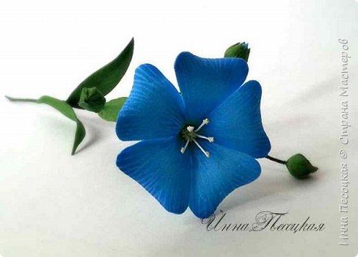 Лён - символ семьи, домашнего очага. Казалось бы обычный цветок, небольшого размера. Но когда он цветет, поле его голубых цветов называют «голубое небо». Мой МК посвящен изготовлению цветка льна из фоамирана.  фото 1