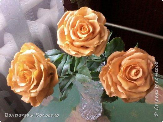 Здравствуйте жители Страны Мастеров.У меня новая попытка сделать розы с холодного фарфора.Выношу на ваше обозрение. фото 1