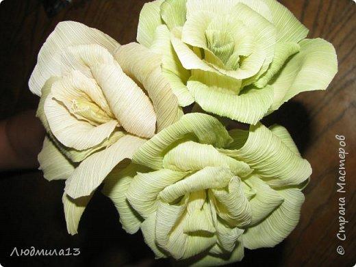 Здравствуйте Мастерицы! Вот и я созрела для МК. А приглянулись мне листья от кукурузы. Не наружные,грубые, а внутренние, нежно-салатового цвета. Они и по фактуре нежные. Мне как-то подарили розы такого цвета, смотрятся очень необычно. Итак, берем внутренние листья, отрезаем жесткие концы, мягкое складываем пополам. Очень важно делать цветы сразу как почистили початок, когда листья ещё мягкие. Потом они засыхают насмерть. фото 1