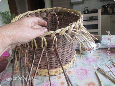 И снова, здравствуйте! Это мое  второе  кашпо. Здесь  я  училась  ситцевому  плетению : перед  2, за 1  и.т.д.. Это  плетение  мне очень понравилось. И я влюбилась в цвет  МОККО. Здесь  я  его не  разбавляла  водой. Получается  как  будто из настоящий  веточек. Попробую  разбавить, интересно, как  получится. фото 6