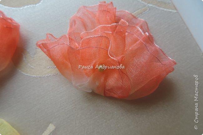 Понадобится: ткань, органза(ширина4см),атласная лента(ширина 1см и 0,3см), нитки в тон органзы фото 11