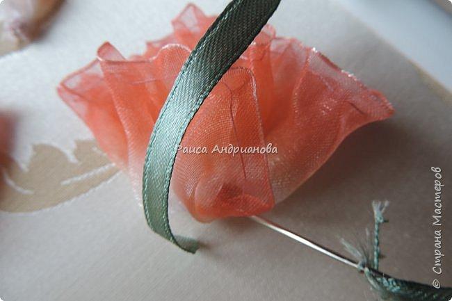 Понадобится: ткань, органза(ширина4см),атласная лента(ширина 1см и 0,3см), нитки в тон органзы фото 13