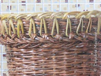И снова, здравствуйте! Это мое  второе  кашпо. Здесь  я  училась  ситцевому  плетению : перед  2, за 1  и.т.д.. Это  плетение  мне очень понравилось. И я влюбилась в цвет  МОККО. Здесь  я  его не  разбавляла  водой. Получается  как  будто из настоящий  веточек. Попробую  разбавить, интересно, как  получится. фото 14
