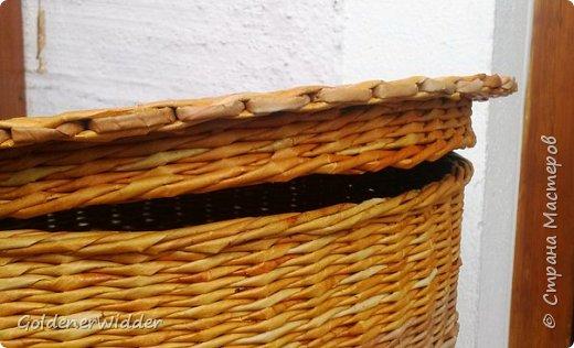 Мастер-класс Поделка изделие Плетение Внутренний бортик у крышки Трубочки бумажные фото 19