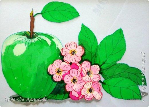 Картина панно рисунок Мастер-класс Аппликация из пластилина + обратная Пластилиновое яблоко Пластилин Стекло фото 1