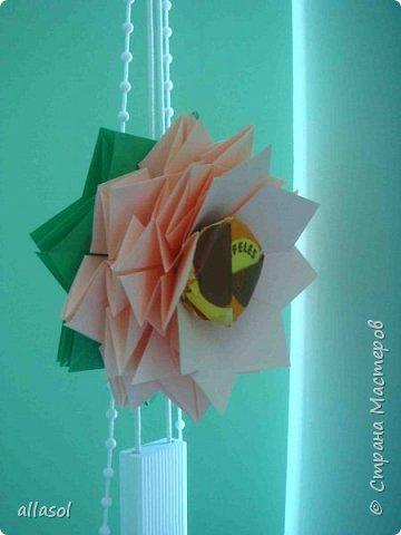 Эксперимент с цветочками - добавила конфетку. Понравилось! МК по цветочкам https://stranamasterov.ru/node/95830 Первый ряд делала из зеленой бумаги. фото 4