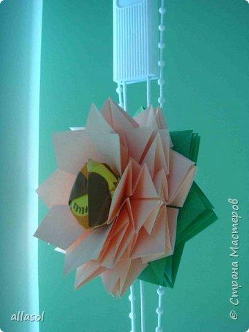 Эксперимент с цветочками - добавила конфетку. Понравилось! МК по цветочкам https://stranamasterov.ru/node/95830 Первый ряд делала из зеленой бумаги. фото 5