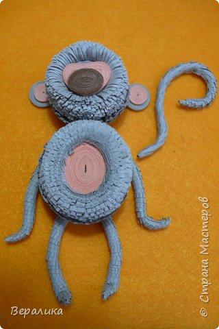 Хочу показать вам как я делала серую обезьянку. Ее размер: 10см, а с хвостиком-бантиком -11см. Нам понадобятся самые простые и доступные материалы: -Обычная офисная бумага (розовая, серая и коричневая) из которой можно нарезать полоски разной ширины и стандартной длины 29,5см; -гофробумага любого цвета ( желательно в тон обезьянки: у меня не было серой, взяла коричневую); -флористическая проволока ( у меня №9); -ножнички для нарезки бахромы; -клей ПВА и Момент прозрачный ( если кто любит собирать на клеевой пистолет, то приготовьте его вместо клея Момент); фото 22