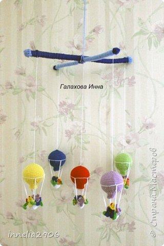 Игрушка Мастер-класс Вязание крючком Мобиль для детской кроватки Воздушные Шары Пряжа фото 9