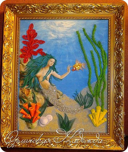 """Добрый вечер, уважаемые жители Страны Мастеров!  Выставляю на Ваш суд очередную работу.  Благодарю Мастеров у которых могла посмотреть и поучиться: Лизу ( azil ) - волосы """" Голубого Ангела """",  Татьяну ( Saphir ) - """" Золотая рыбка """",  Ольгу Ольшак - жемчужина и красные кораллы,  Елену ( Дама-кусудама ) - морские водоросли и губки.     Рыбка, рыбка помоги, золотая сделай милость...  Загадывайте желания!!! фото 23"""