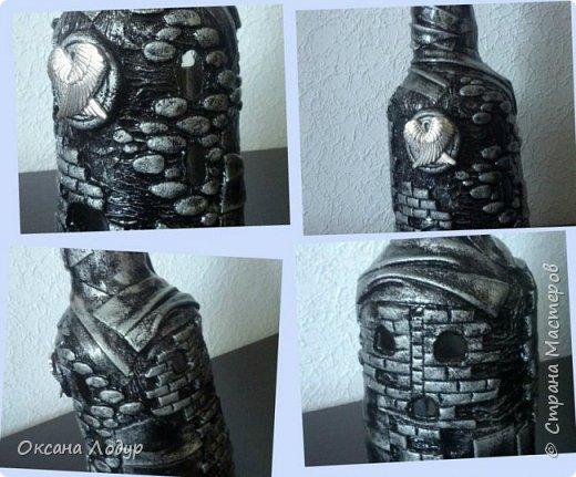 Стеклянная бутылка, декорирована кожей и соленым тестом. Покрыта гуашью и лаком. фото 2