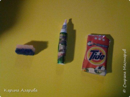Привет! Сегодня я покажу вам кукольные мелочи Вот это губка, моющие средство и стиральный порошок. фото 1