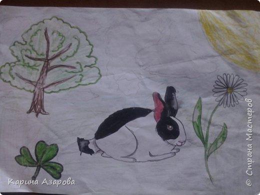 """Здравствуйте! Нашла рисунки которые рисовала год назад.  Рисунок """"Кролик на полянке"""" (чуть-чуть кто-то накапал). фото 1"""