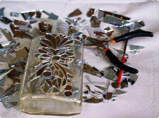 Декор предметов Мастер-класс Материалы и инструменты Лепка Мозаика Декор бутылки зеркальной мозаикой и эпоксидной смолой Бутылки стеклянные Пластика фото 9