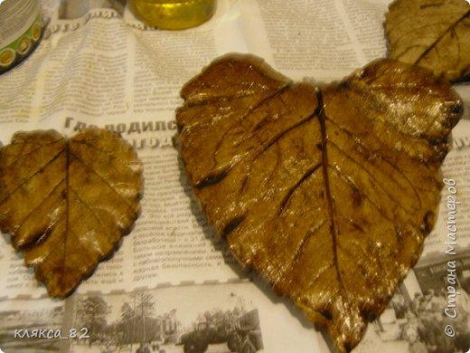 Мастер-класс Поделка изделие Литьё Роспись МК по отливкам из гипса панно листья магниты ч 2 Гипс Краска фото 4