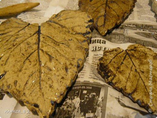 Мастер-класс Поделка изделие Литьё Роспись МК по отливкам из гипса панно листья магниты ч 2 Гипс Краска фото 9