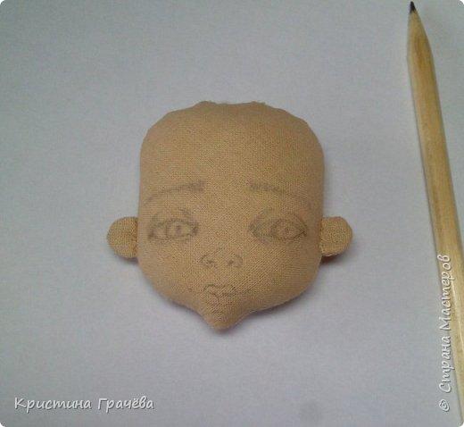 Здравствуйте! Вот собралась я с силами и сделала мастер-класс по созданию текстильной куклы. Надеюсь вам будет интересно. Материалы для работы: Ткань. Синтепух. Нитки. Краски акриловые. Кисть тонкая. фото 5