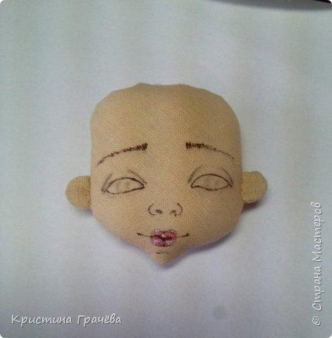 Здравствуйте! Вот собралась я с силами и сделала мастер-класс по созданию текстильной куклы. Надеюсь вам будет интересно. Материалы для работы: Ткань. Синтепух. Нитки. Краски акриловые. Кисть тонкая. фото 6