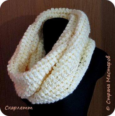 шарф снуд крючком из плюшевой пряжи