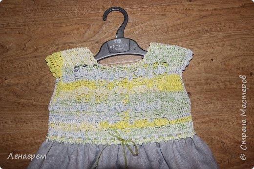 Здравствуй, страна! В подарок подружке из Страны Мастеров создалось платье для ее доченьки. Платье детское на 3 года,в работе использовались нитки хлопчатобумажные, ткань льняная. Вот что получилось в результате работы: фото 2