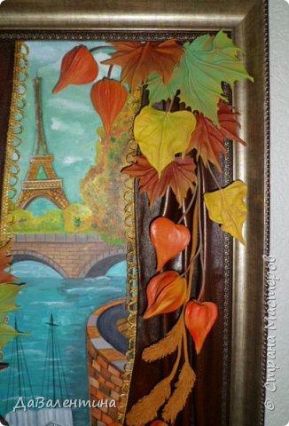 Картина панно рисунок Мастер-класс Праздник осени Ассамбляж Картина из кожи Осенний Париж  Мастер-класс Кожа фото 7