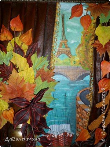 Картина панно рисунок Мастер-класс Праздник осени Ассамбляж Картина из кожи Осенний Париж  Мастер-класс Кожа фото 3