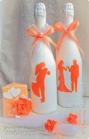 Оформление шампанского,фужеров,оберега и свечей для родителей в стиле Шебби шик.  фото 4
