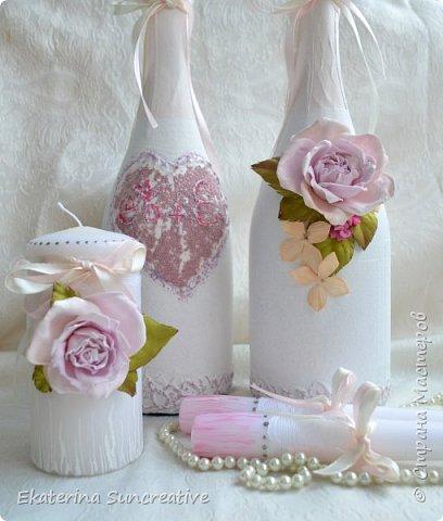 Оформление шампанского,фужеров,оберега и свечей для родителей в стиле Шебби шик.  фото 3