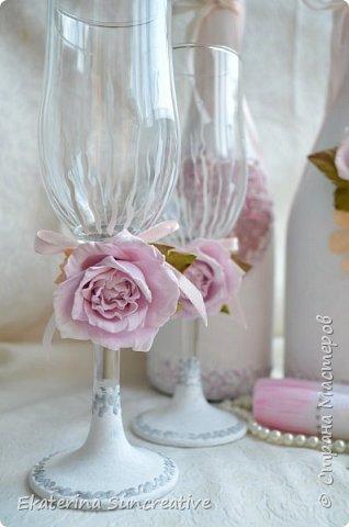 Оформление шампанского,фужеров,оберега и свечей для родителей в стиле Шебби шик.  фото 2