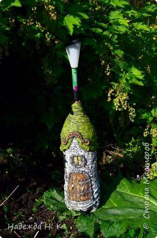 Ландшафтный дизайн Мастер-класс Папье-маше Садовый фонарик Домик  Бумага Бутылки пластиковые Капрон Краска Материал бросовый фото 1