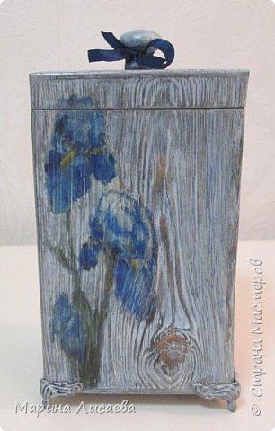 Здравствуйте, мои дорогие жители СМ! Заказали мне короб для кухни в подарок. Условия таковы: цвет синий с серым (в тон кухни одариваемого), обязательно картинка, но и рисунок дерева показать. Вот что у меня получилось. Бантик фиксировать не стала, чтобы его можно было снять. фото 2