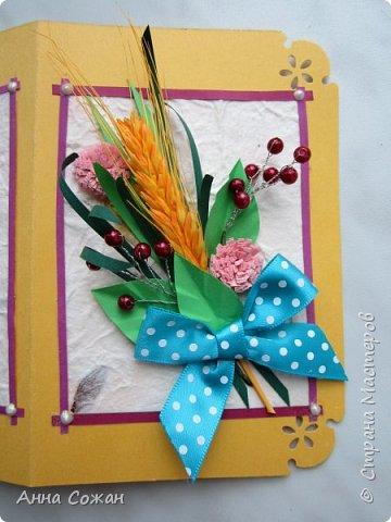 Здравствуйте друзья! Сделала подруги открытку на День Рождения! Вот такая получилась осенняя, с ягодками и жёлтым колоском.