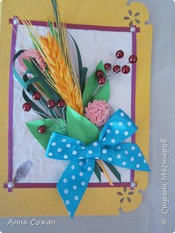 Здравствуйте друзья! Сделала подруги открытку на День Рождения! Вот такая получилась осенняя, с ягодками и жёлтым колоском.  фото 4
