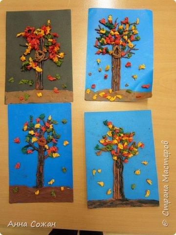 """Здравствуйте мастерицы! Вот такие осенние деревья мы наторцевали с моими первоклашками из студии """"Пластилинята"""" (шк.№249 г. Санкт-Петербург). У кого то это был первый опыт.Деревья получились на славу."""