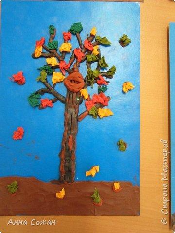 """Здравствуйте мастерицы! Вот такие осенние деревья мы наторцевали с моими первоклашками из студии """"Пластилинята"""" (шк.№249 г. Санкт-Петербург). У кого то это был первый опыт.Деревья получились на славу.  фото 8"""