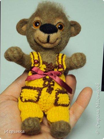 Всем доброго времени суток! Вдохновившись валяшками Татьяны Бараковой решила свалять медвежонка. Родился он у меня худенький, ростиком 16 см. фото 1