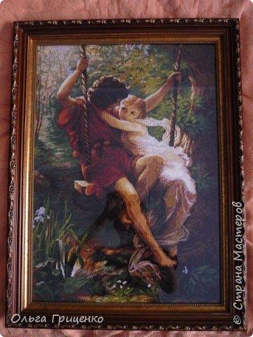 """Картина """"Влюбленные на качелях"""" фирма Чаривна мить. Размер: 37x55 см.  Вышивала очень долго, почти 4 года, но с большими перерывами на детей)))) Результатом очень довольна)) фото 1"""