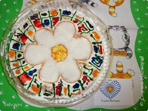 """Такой торт приготовила на технологии ученица 8 класса - Полина! Ромашка - символ семьи, любви и верности! Как хорошая хозяйка, она понимает, что женщина в семье должна хорошо готовить и кормить свою семью! И на день рождение и на любой праздник нужно уметь самой """"сматерить"""" вкусный тортик! фото 3"""