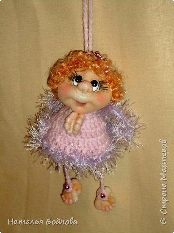 Куклы Мастер-класс Рождество Вязание крючком Шитьё МК по изготовлению Ангелочка - маленькой подвесной куклы Пряжа Ткань фото 1