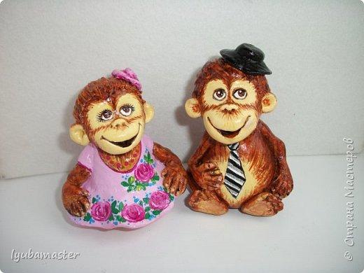 """Здравствуйте дорогие мастера. Снова я к вам с обезьянками.....Новый год впереди, вот и леплю.  Размеры  7-8 см. Краски- акрил, акварель.Лак аэрозольный """"ВOSNY"""". фото 2"""