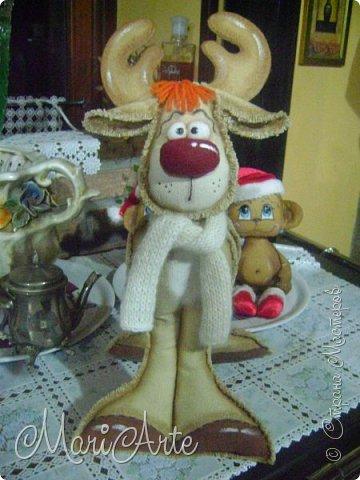 Мастер-класс Поделка изделие Новый год Рождество Шитьё Сказочный олень М К Клей Краска Нитки Ткань Фетр фото 1