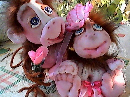 Привет всем жителям СМ! Я как и все приготовила тоже обезьянок. Вот они какие получились. Женщин часто сравнивают с обезьянами. И ласковые прозвища дают. Поэтому у меня первая РОЗОЧКА. фото 1
