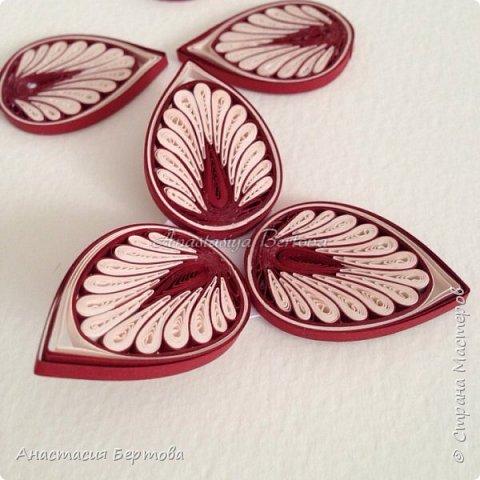Картина панно рисунок Мастер-класс Квиллинг Фантазийный цветок Бумажные полосы Клей фото 22
