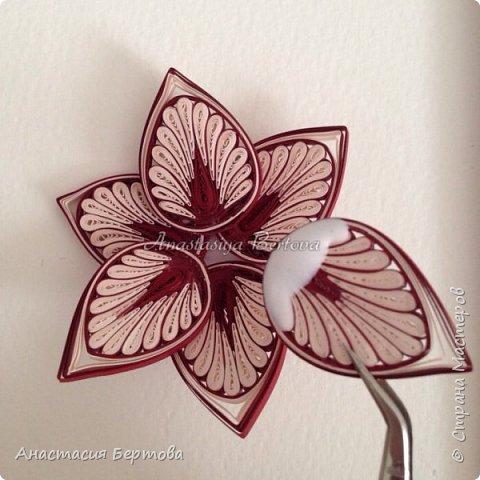 Картина панно рисунок Мастер-класс Квиллинг Фантазийный цветок Бумажные полосы Клей фото 23